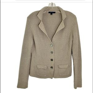Boden taupe cotton cardigan sweater size 12